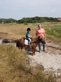 pony aan de hand rijstal de blinkert